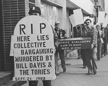 Union member holding sign