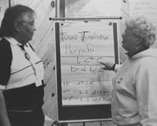 Two OPSEU members writing on flip chart