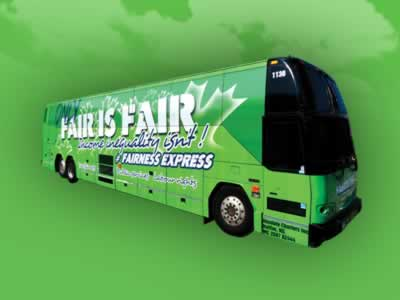 Green fairness express bus. Only fair is fair, income inequality isn't!