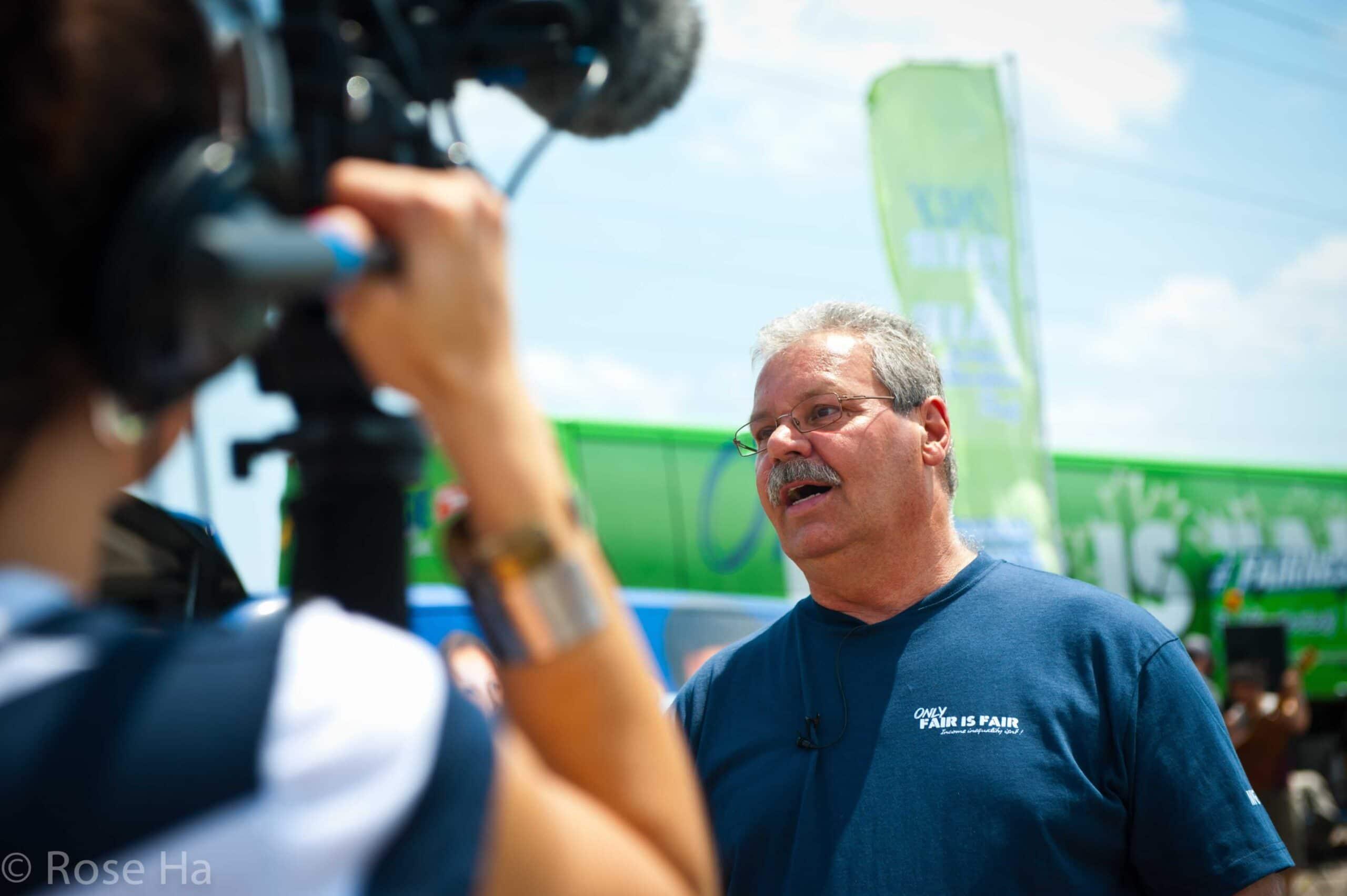 Smokey Thomas speaking to a news station