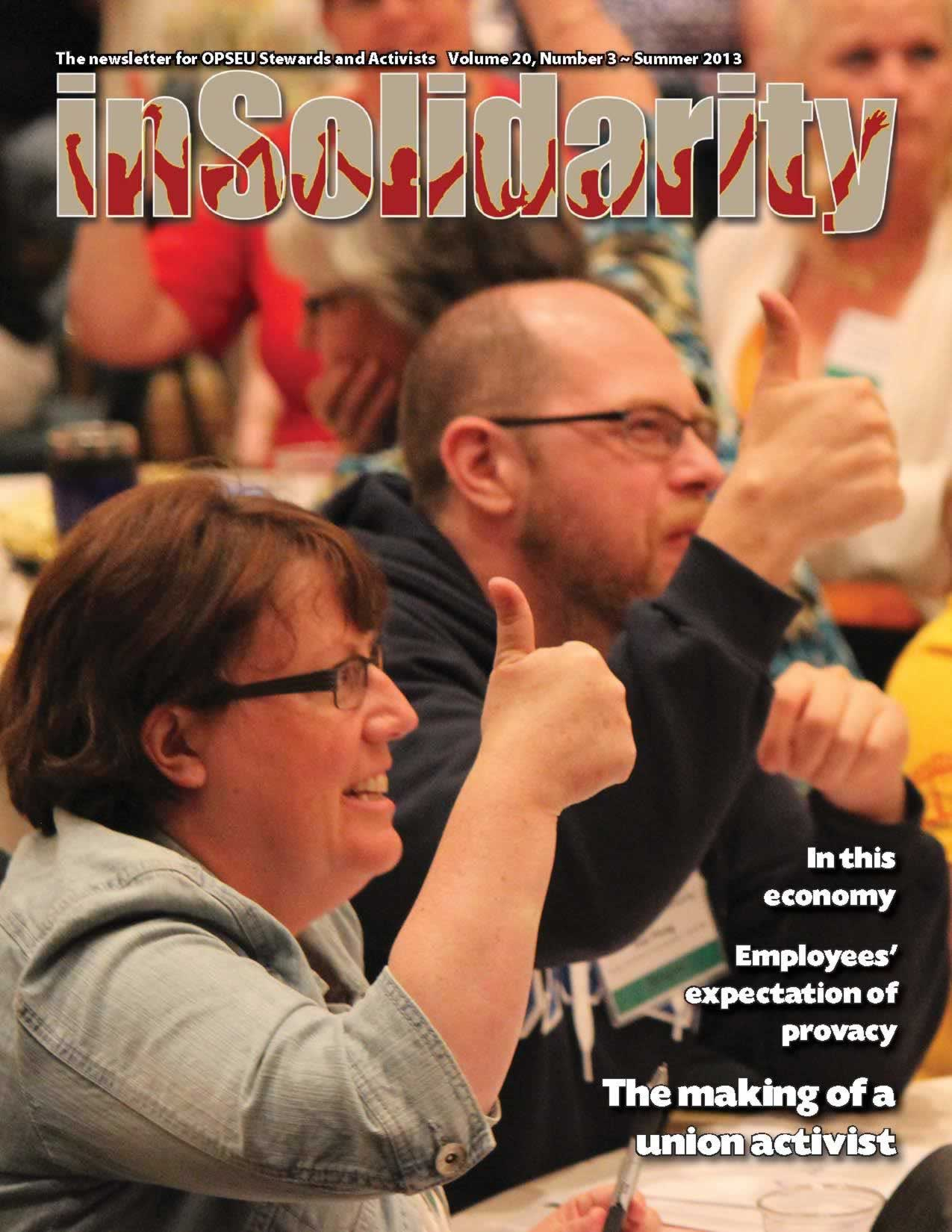 In Solidarity, summer 2013 cover. OPSEU members giving the thumbs up