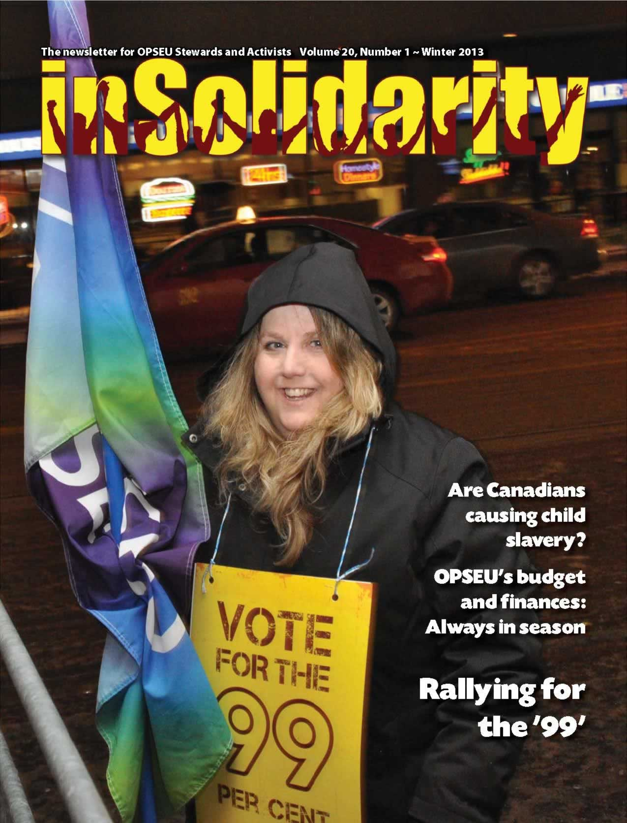 In Solidarity, winter 2013 cover. OPSEU member holding a flag