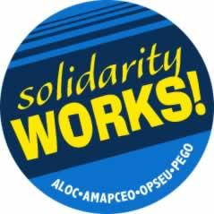 Solidarity works! round sticker