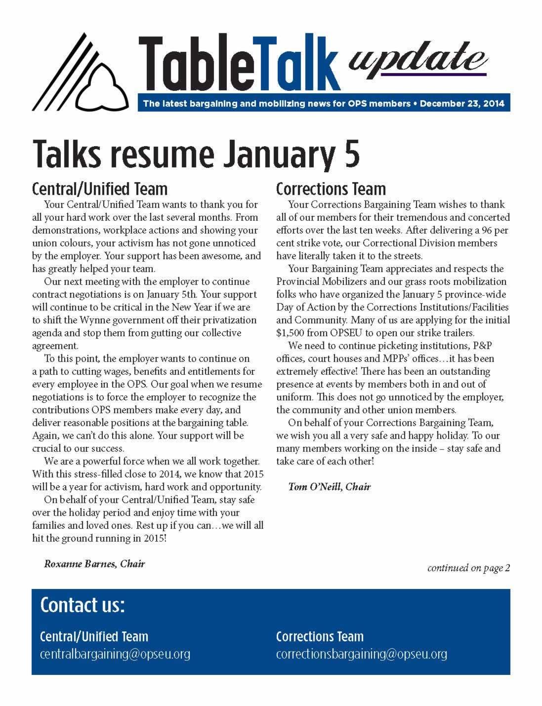 Table Talk Update. Talks resume January 5