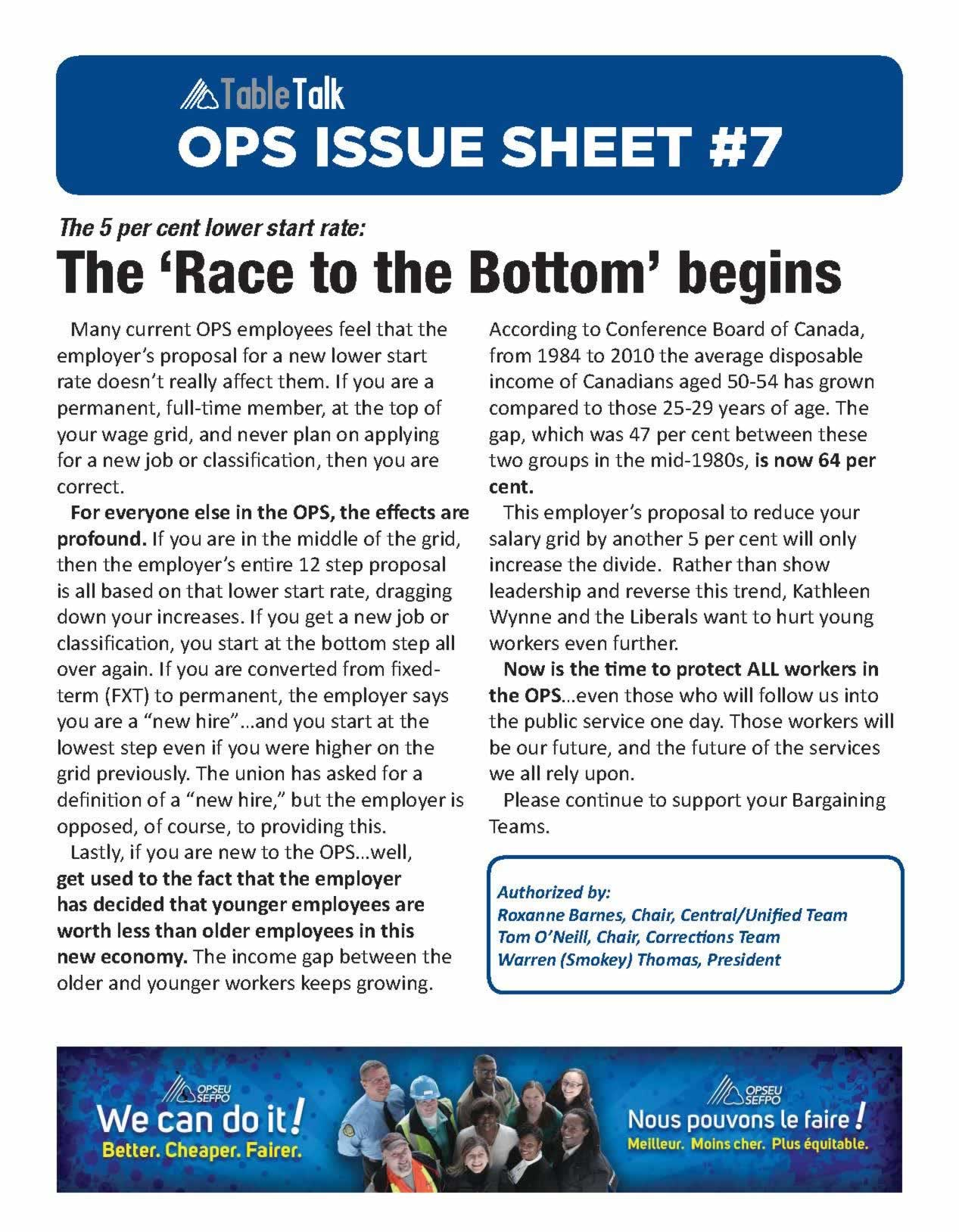 OPS Issue Sheet: the 5% lower start rate: the 'race to the bottom' begins