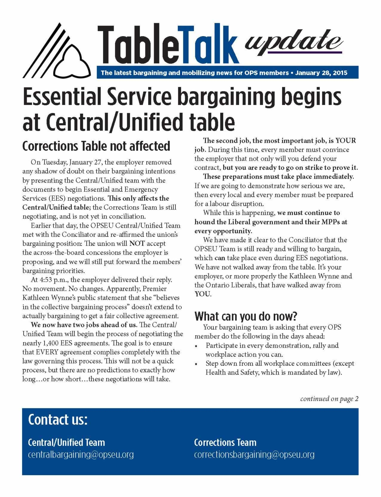 Table Talk Update: Essential Service bargaining begins at central/unified table
