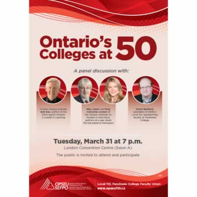 Ontario's Colleges at 50. Panel discussion flyer. March 31st, 2015.