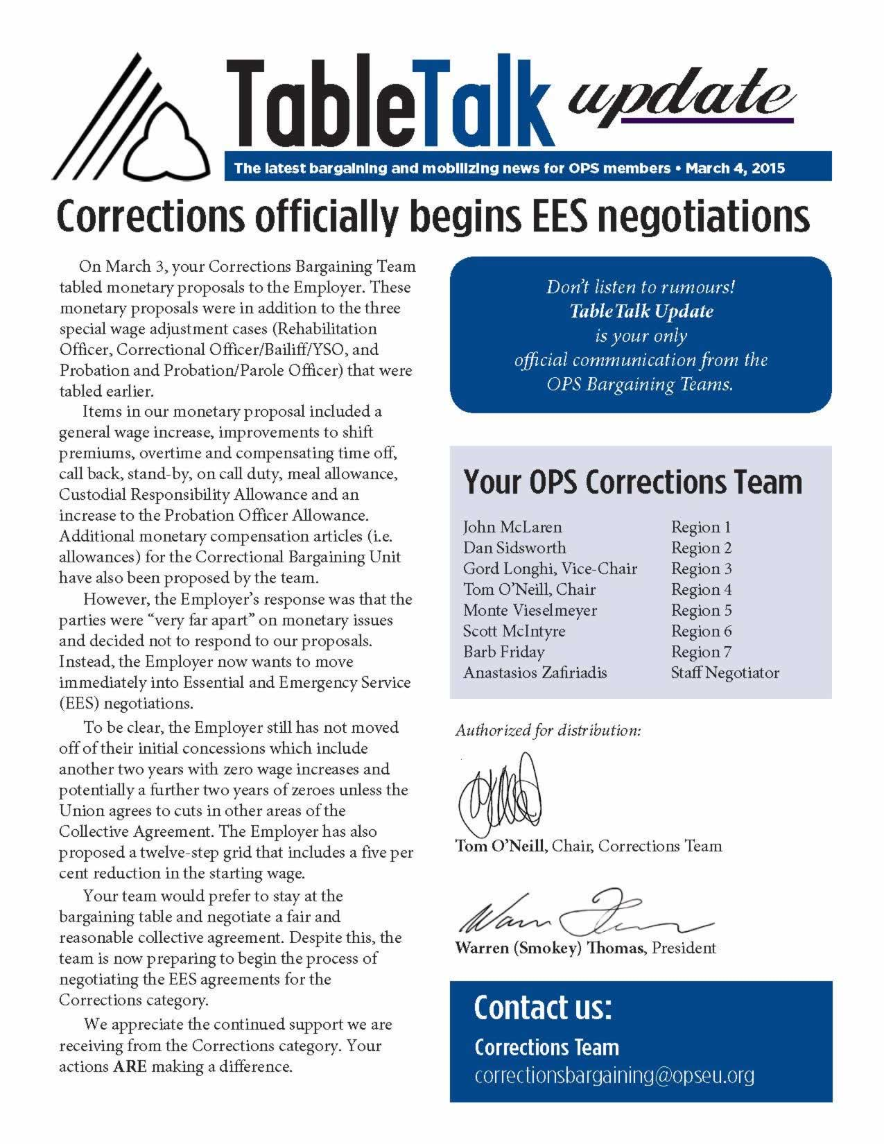 Table Talk Update: Corrections officially begins EES negotiations