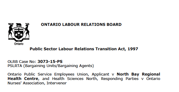 Ontario Relations Board Public Sector Relations Transition Act 1997