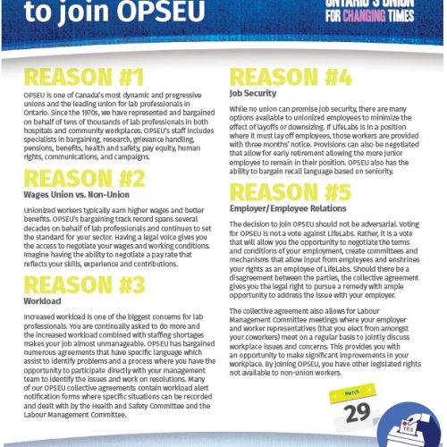 Top 5 reasons to join OPSEU flyer.