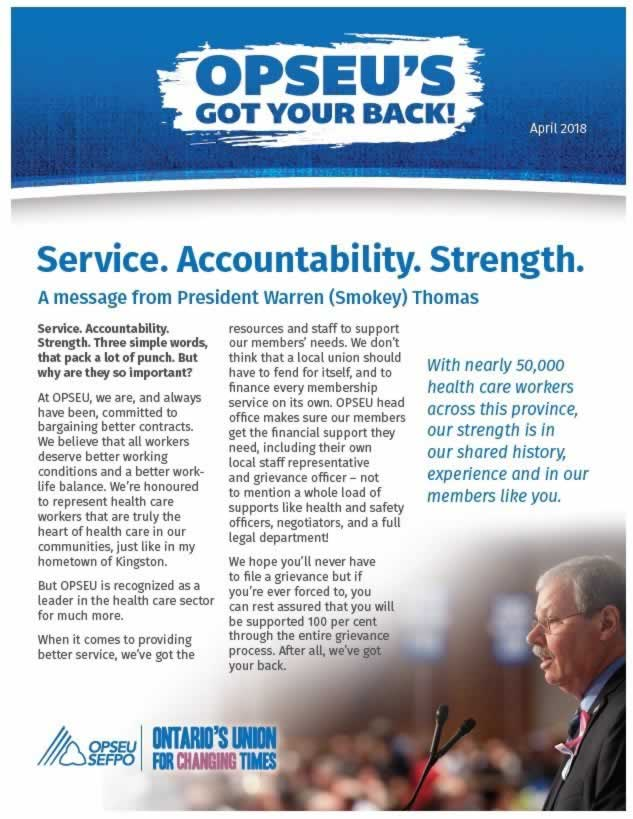 Cover page of OPSEU's got your back newsletter. Message from Smokey Thomas