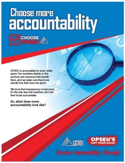 Choose more accountability, choose OPSEU poster.