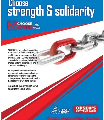 Choose strength and solidarity, choose OPSEU poster.