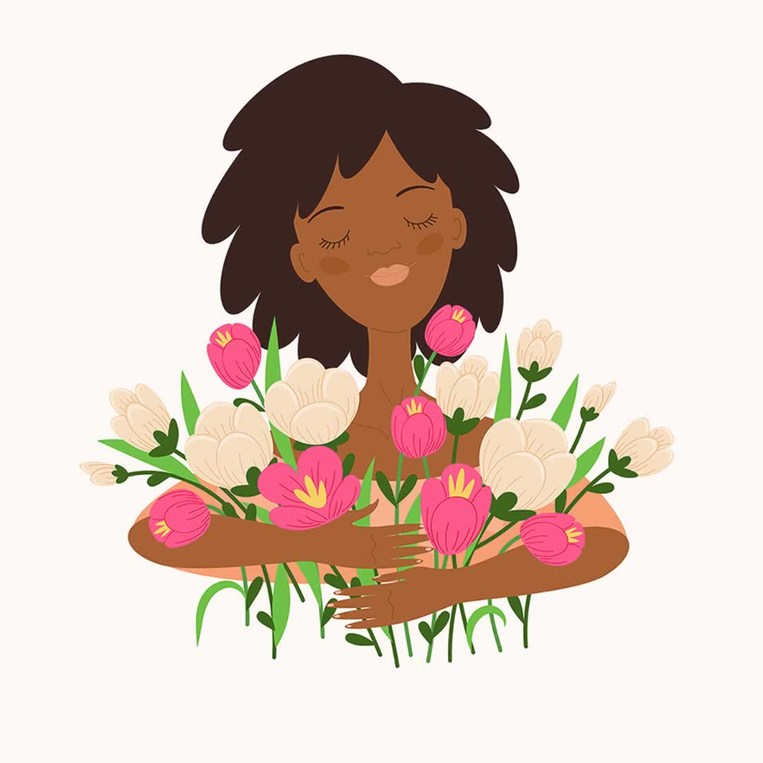 Illustration of a woman holding flowers.