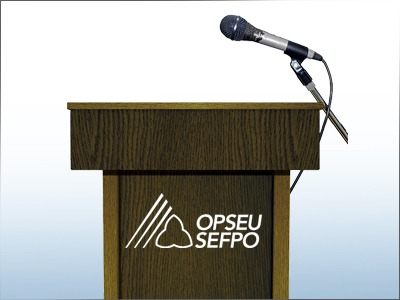 Podium with microphone and OPSEU SEFPO logo
