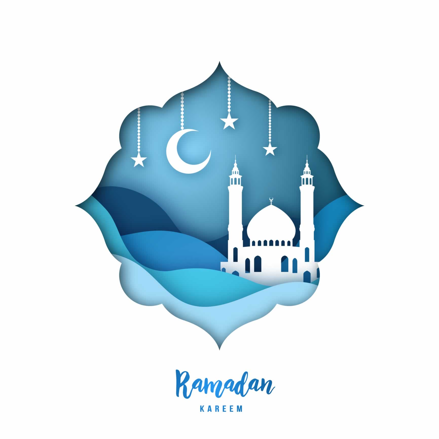 """Illustration of a mosque under a night sky with the text: """"Ramadan kareem"""""""