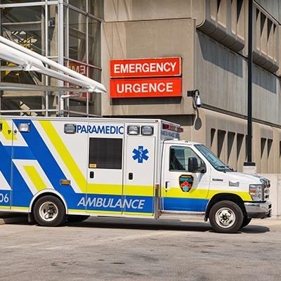 Ambulance outside of hospital