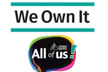"""""""All of us!"""" OPSEU Convention 2017 logo with We built it, we paid for it, We Own It logo"""