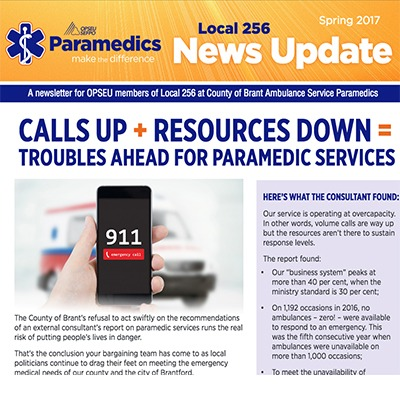 OPSEU Local 256 Paramedics: News Update, Spring 2017