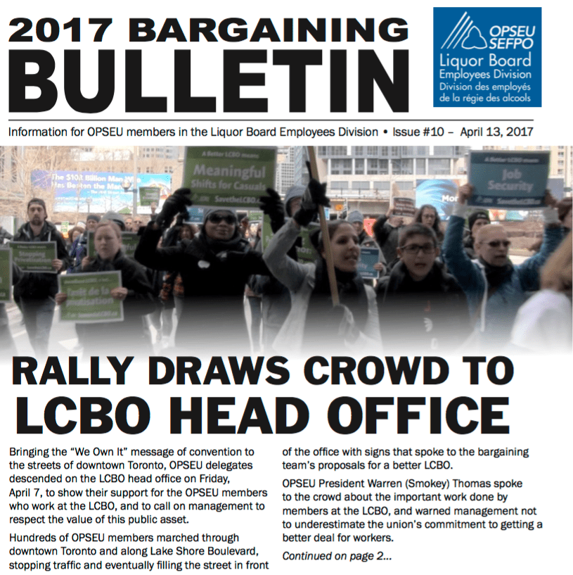 LBED Bargaining Bulletin, Issue 10, Apr. 13, 2017.
