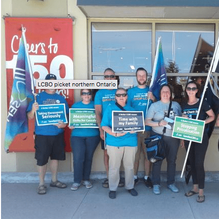 LCBO Information Picket: LBED Members standing in front of store