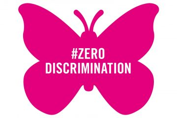 Zero Discrimination, illustration of pink butterfly