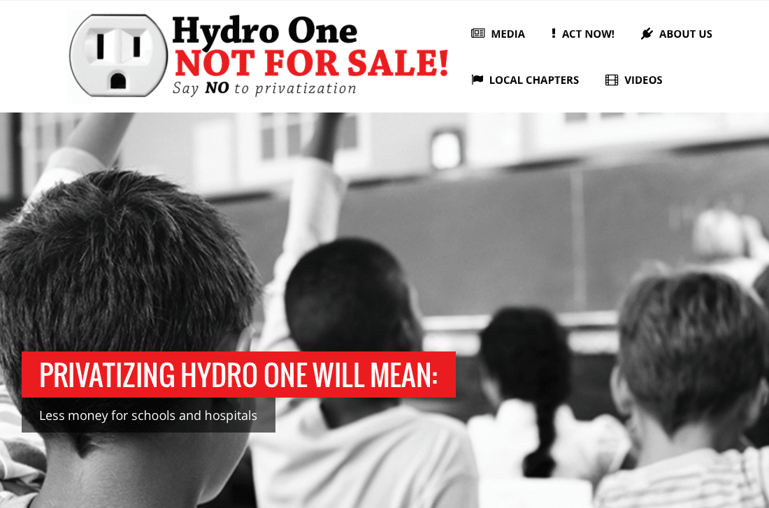 Hydro One Not For Sale website: say no to privatization