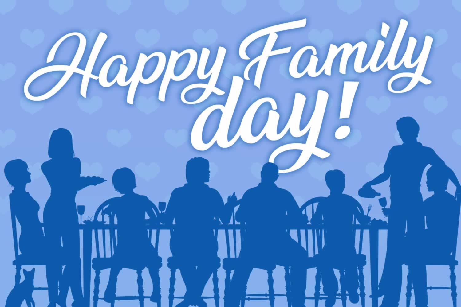 Happy Family Day image. Graphic of people around a table eating