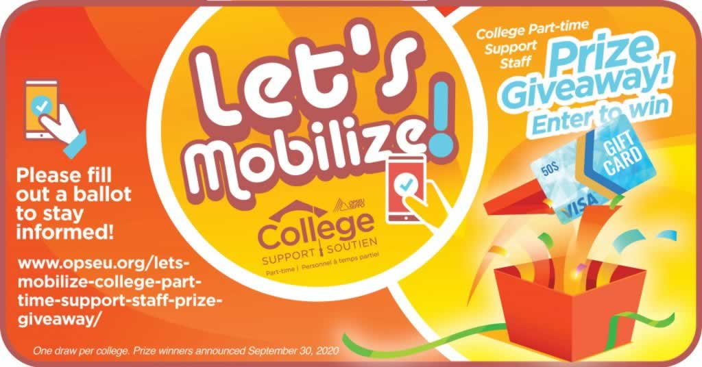Let's Mobilize! College Support Part-Time prize giveaway