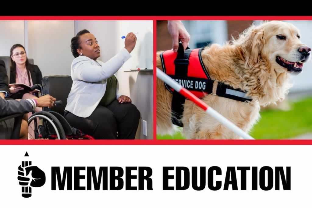 Member Education. Image of woman in wheelchair and service dog