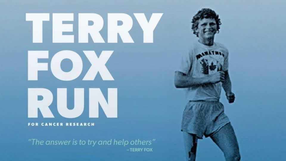 Terry Fox Run for cancer research with image of Terry Fox