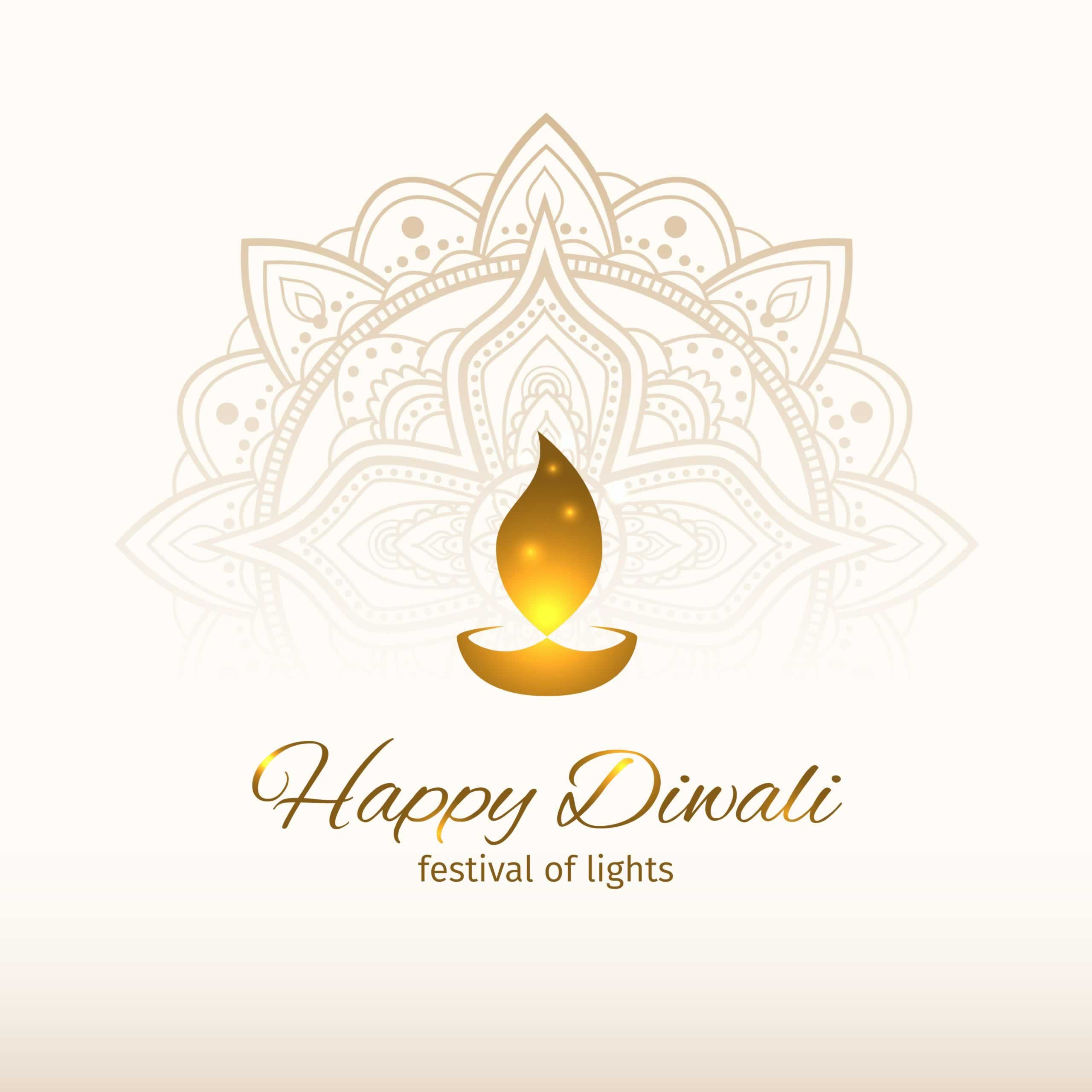 Happy Diwali, festival of lights. White background with mandala and vector illustration