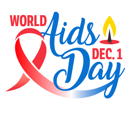 World Aids Day: December 1. A red ribbon and candle are pictured.