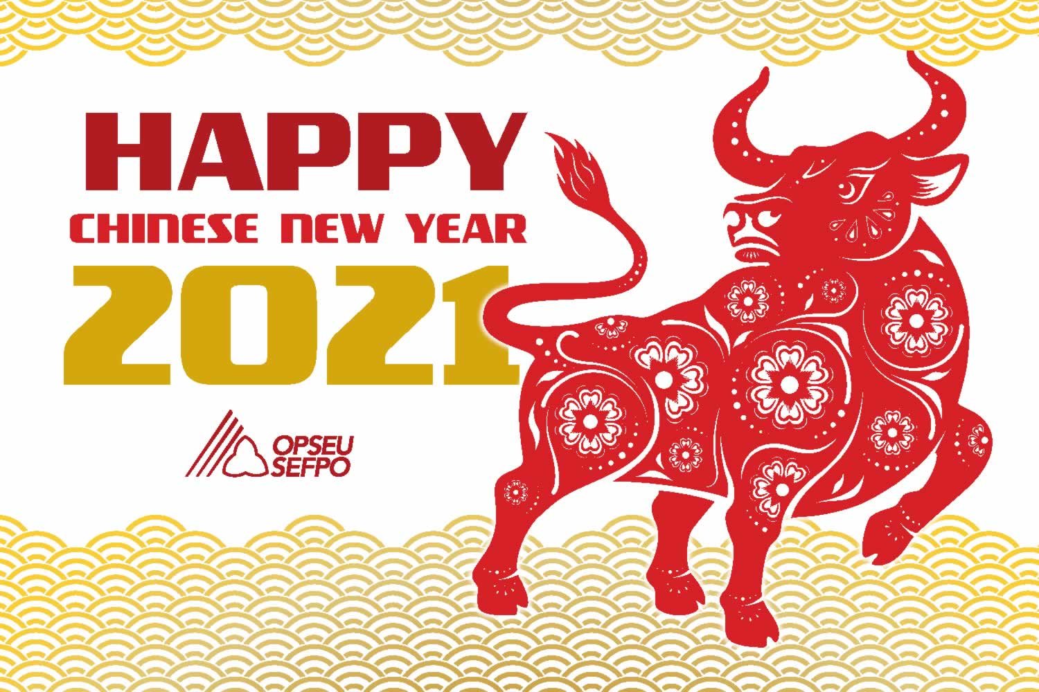 Happy Chinese New Year 2021, with decorative image of an Ox