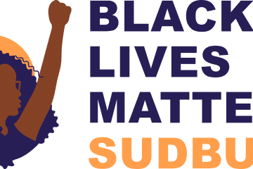 Black Lives Matter Sudbury. Illustration of woman raising her fist in the air