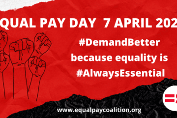 Equal Pay Day - April 7 2021 illustration with fists raised #DemandBetter