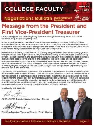 College Faculty: Negotiations Bulletin, with an image of Smokey and Eddy at the bottom.