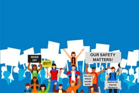Cartoon graphic of people at rally with health and safety signs