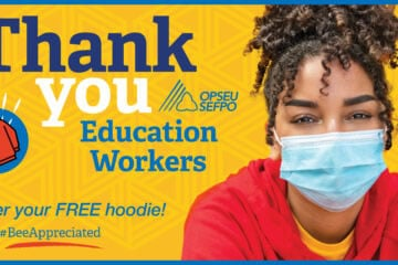 Thank you education workers. Order your free hoodie! #BeeAppreciated