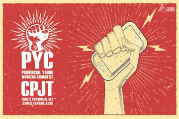 Illustration of a hand holding a cell phone. Provincial Young Workers Committee