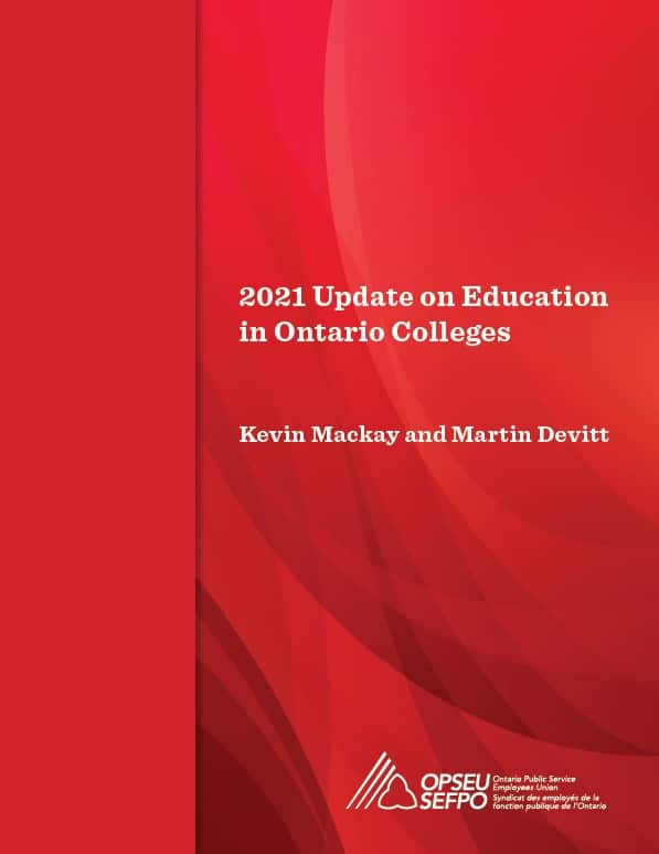 2021 Update on Education in Ontario Colleges cover